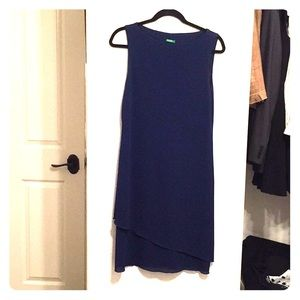 Benetton royal blue dress w/wavy asymmetrical hem